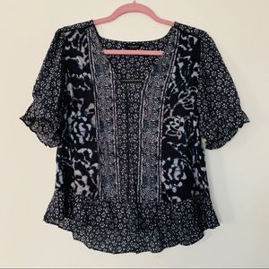 Lucky Brand Navy Blue Blouse